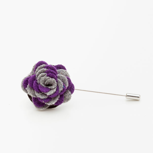 Purple and Grey Wool Lapel Flower Pin