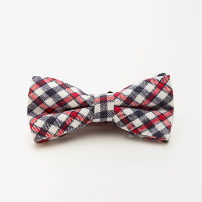 Red and White Wool Plaid Bow Tie