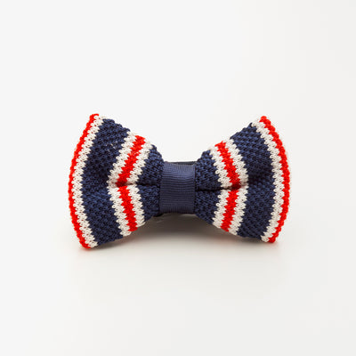 Nato Striped Red Blue White Wool Knit Bow Tie