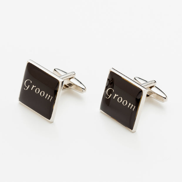"Square Wedding Day ""Groom"" Cufflinks Am Bespoke Accessories"