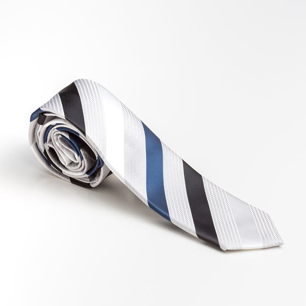 Vertical Striped White Tie