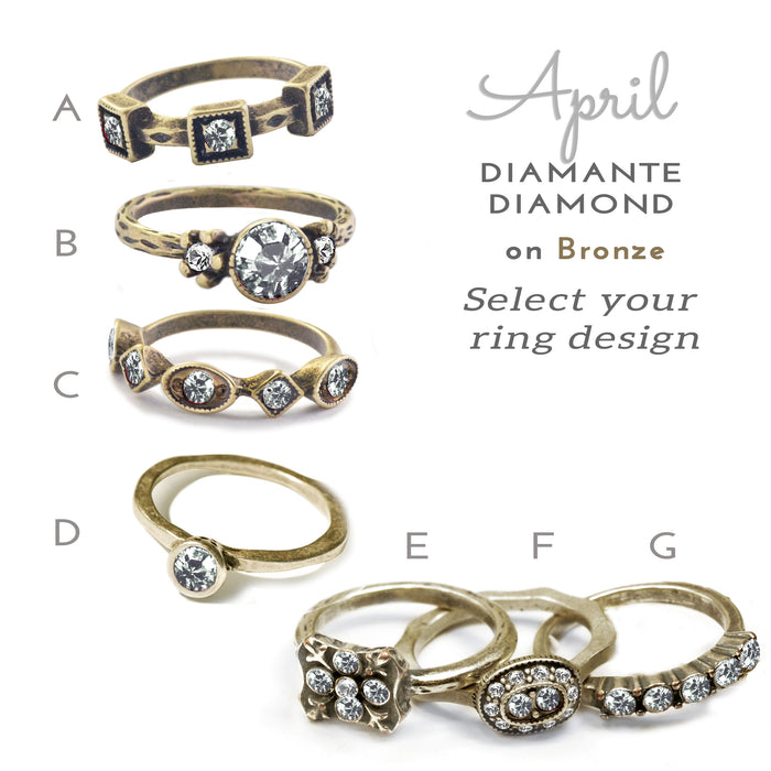 Stackable April Birthstone Ring - Diamond