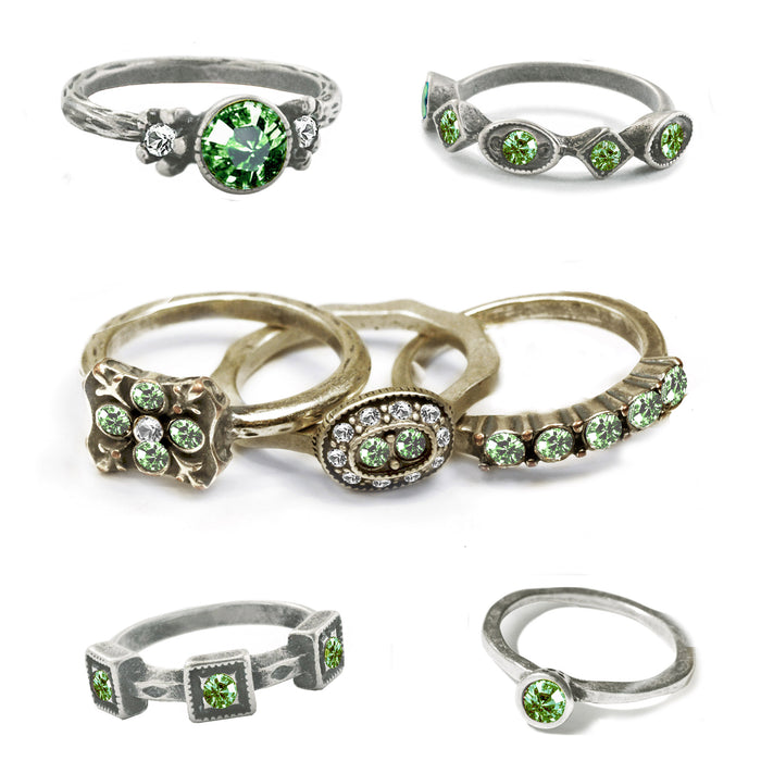 Stackable August Birthstone Ring - Peridot Green