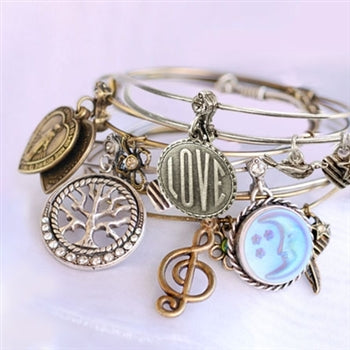 Create, Inspire, Connect: Bangle Bracelet Set of 5 - sweetromanceonlinejewelry