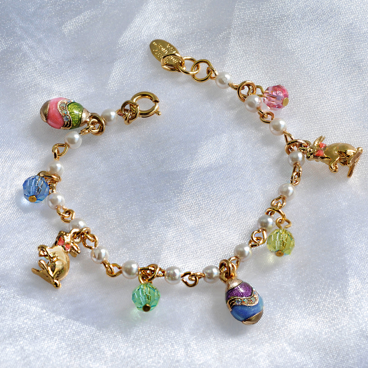 Easter Egg Charm Bracelet BR201 - sweetromanceonlinejewelry