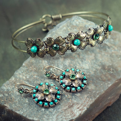 Dogwood Blossom Turquoise Bangle Bracelet & Earring Set - sweetromanceonlinejewelry