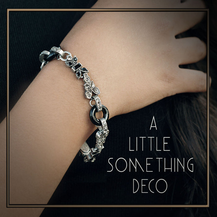 Art Deco Black and Silver Bracelet BR404