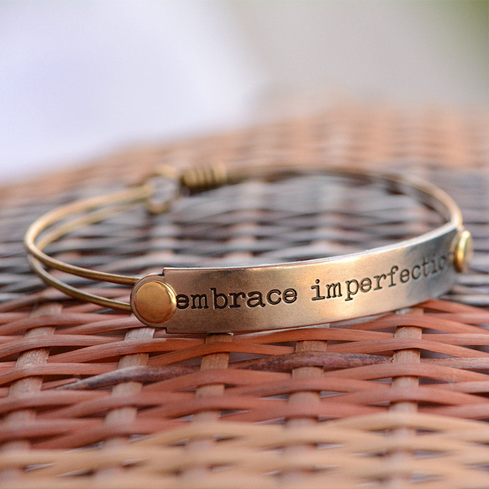 Embrace Imperfection Inspirational Message Bracelet BR413