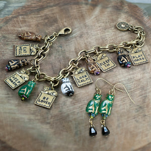 Good Life Cat Charm Bracelet & Earring Set - sweetromanceonlinejewelry