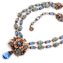 Load image into Gallery viewer, Blue and Copper Floral Necklace  N5985
