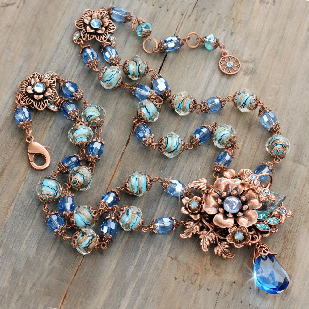 Blue and Copper Floral Necklace  N5985