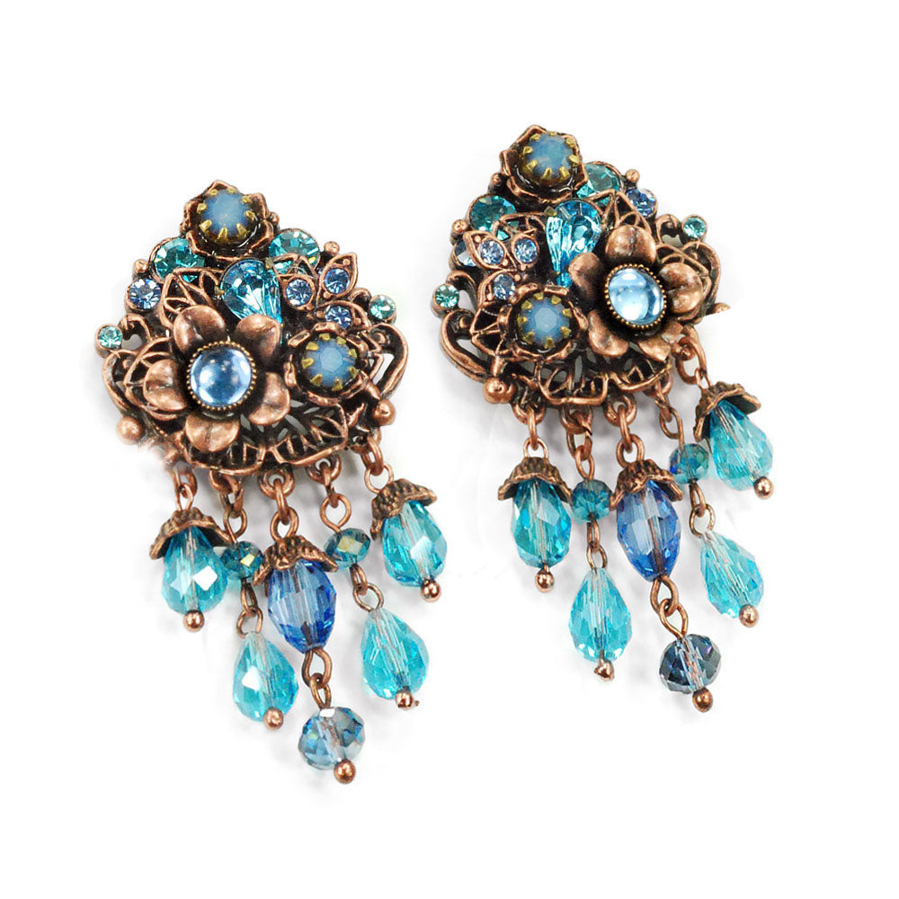 Blue and Copper Floral Earrings