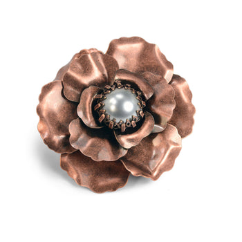 Copper Rose Brooch  P107