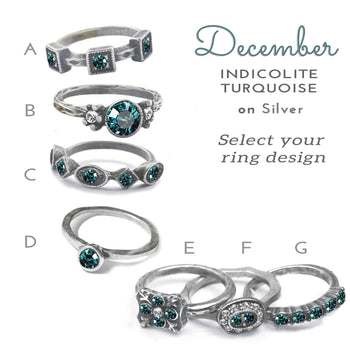 Stackable December Birthstone Ring - Indicolite Turquoise