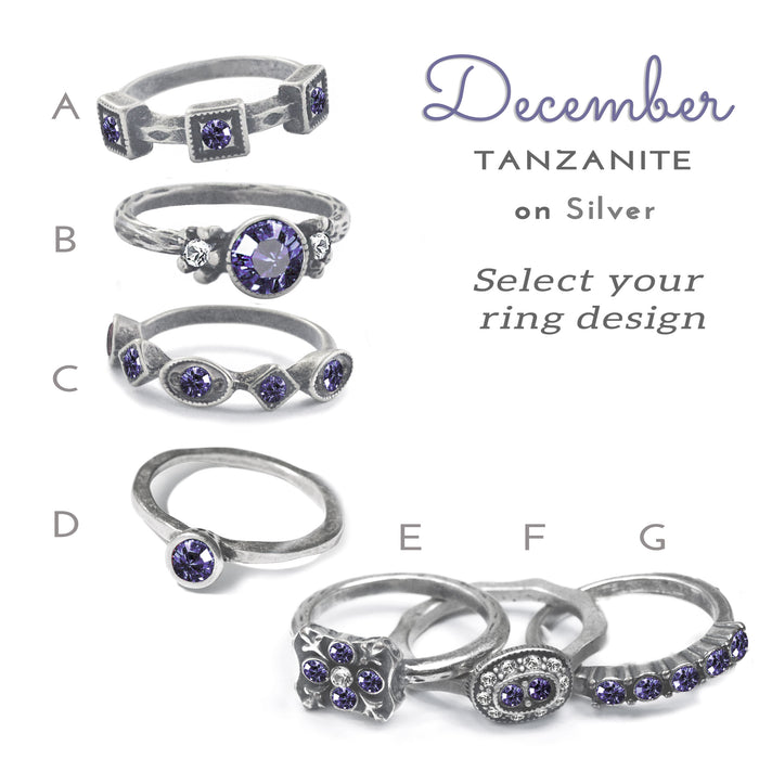 Stackable December Birthstone Ring - Tanzanite Blue