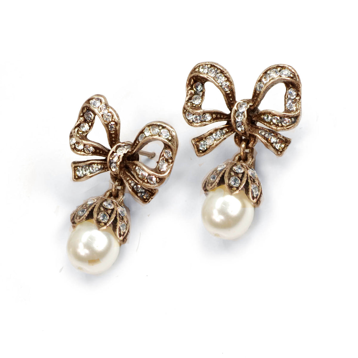 Vintage Bow Pearl Earrings