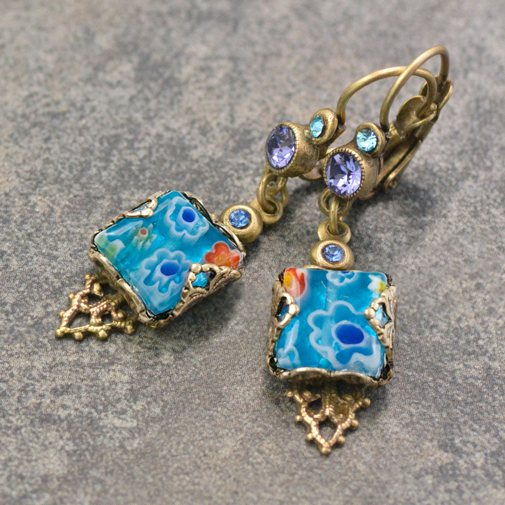 Millefiori Vintage Square Earrings E1382 - sweetromanceonlinejewelry