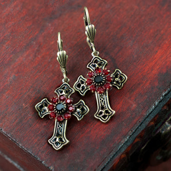 Victorian Black Cross Earrings E1443