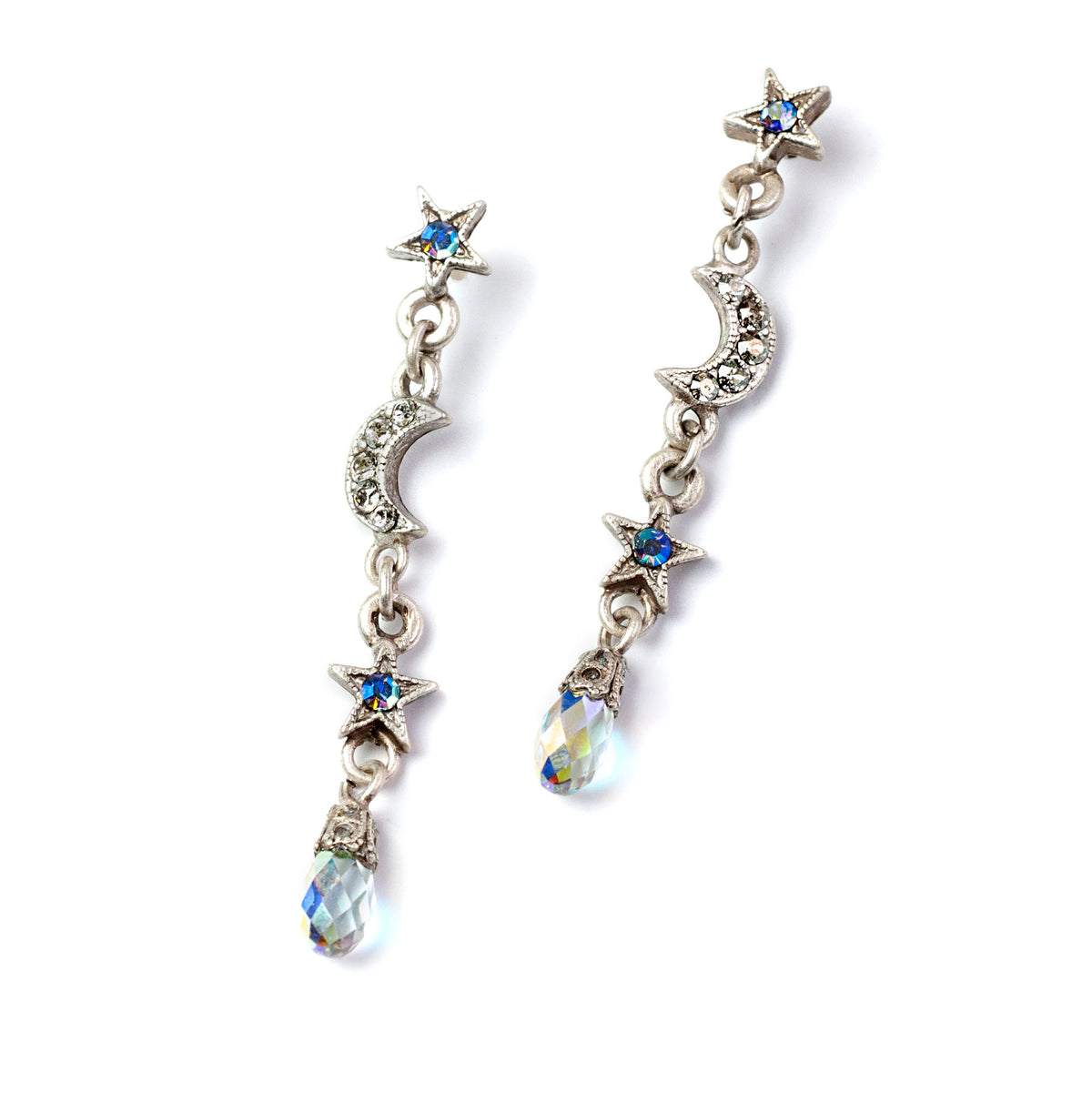 Dangling Moon & Star Earrings E1494 - sweetromanceonlinejewelry