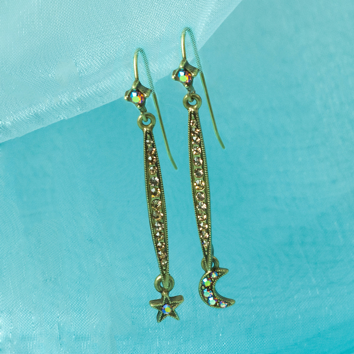 Longated Star & Moon Earring E1499 - sweetromanceonlinejewelry