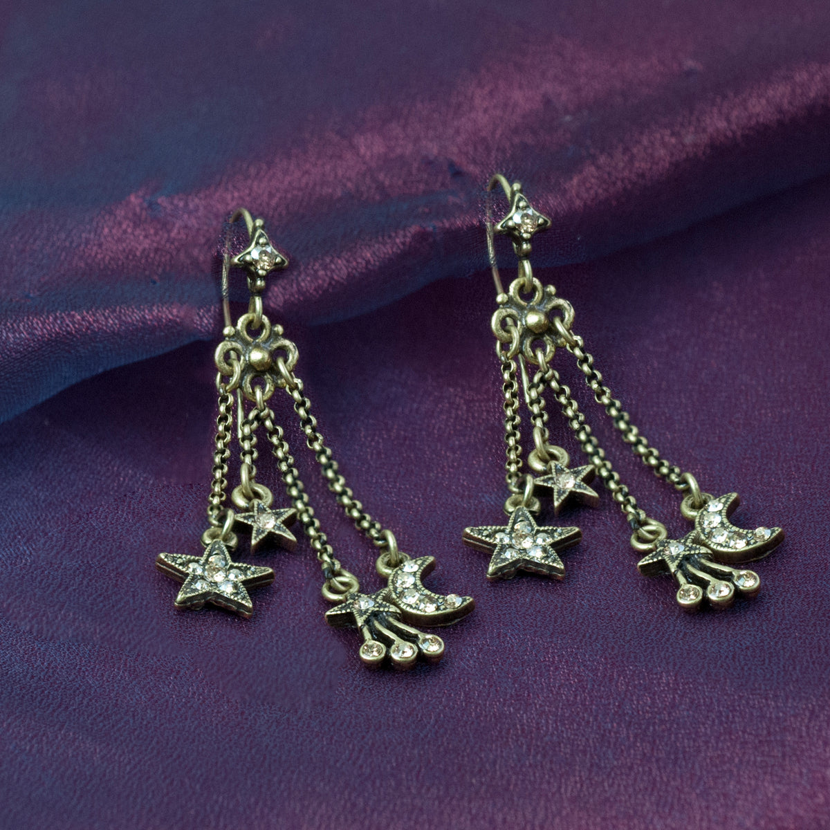 Moon & Star Delicate Tassel Earrings E1500 - sweetromanceonlinejewelry