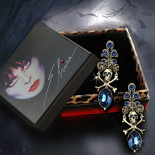 Load image into Gallery viewer, Elvira's Skull and Roses Earrings EL_E1517 - sweetromanceonlinejewelry