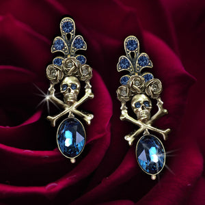 Elvira's Skull and Roses Earrings EL_E1517 - sweetromanceonlinejewelry