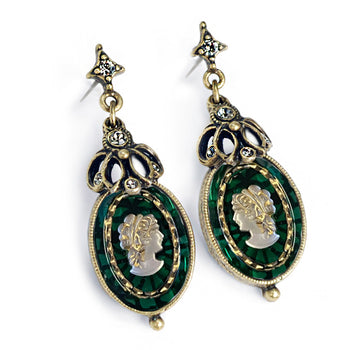 Emerald Green Glass Vintage Cameo Earrings