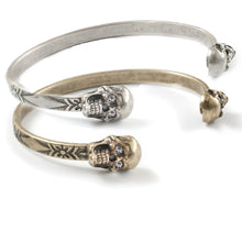 Load image into Gallery viewer, Elvira's Skinny Stacking Skulls Cuff Bracelet BR120