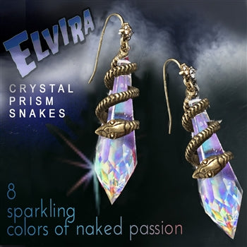 Elvira's Mystic Crystal Snake Earrings