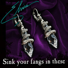 Load image into Gallery viewer, Elvira's Mystic Crystal Snake Earrings EL_E102