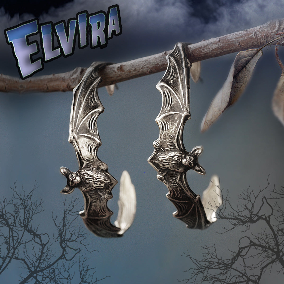 Elvira's Bat Hoop Earrings