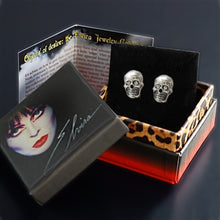 Load image into Gallery viewer, Elvira's Skull Stud Earrings
