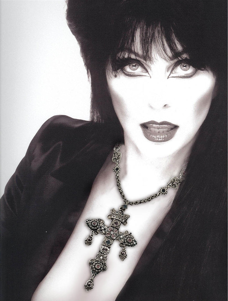 Elvira's Gothic Jewel Cross Necklace