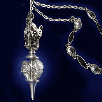Elvira's Cat on a Crystal Ball Necklace