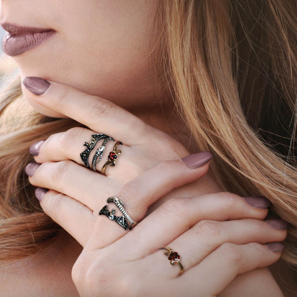Elvira's Stacking Ring Set: Bat, Serpent, Heart EL_R101 - sweetromanceonlinejewelry
