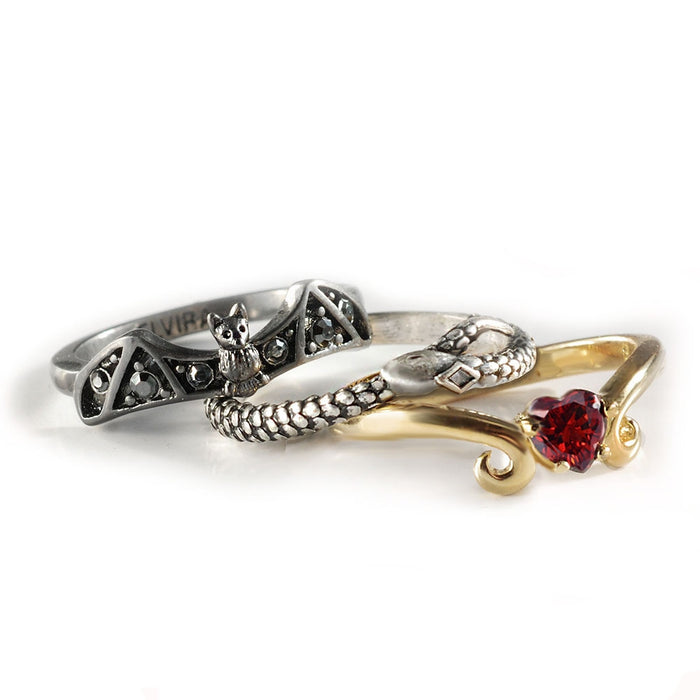 Elvira's Stacking Ring Set: Bat, Serpent, Heart