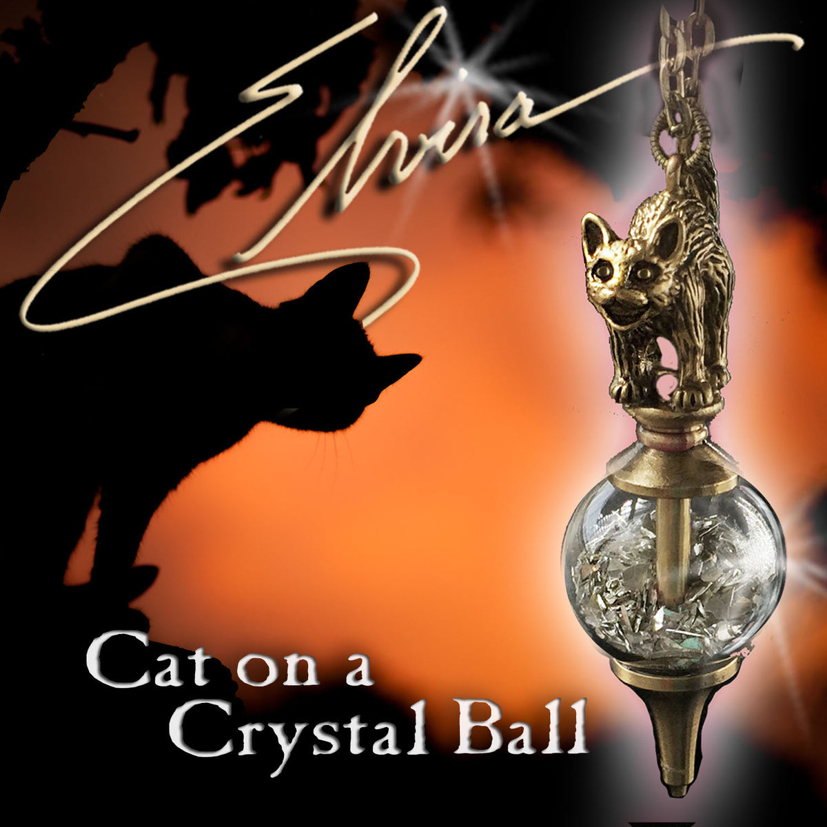 Elvira's Cat on a Crystal Ball Necklace EL_N117
