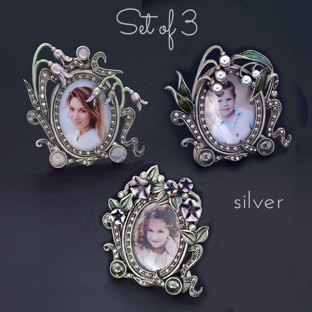 SWEET ROMANCE Lily of the Valley Miniature Picture Photo Frame SILVER