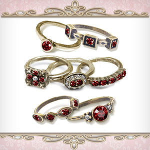 Garnet Red Crystal Stacking Rings