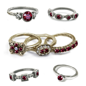 Stackable July Birthstone Ring - Ruby Red