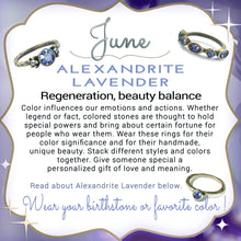Load image into Gallery viewer, Stackable June Birthstone Ring - Alexandrite Lavender