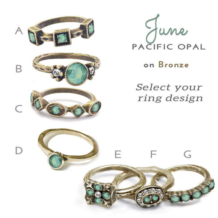 Stackable June Birthstone Ring - Pacific Opal