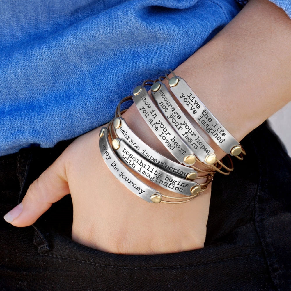 Inspirational Message Bar Bangle Bracelets - sweetromanceonlinejewelry