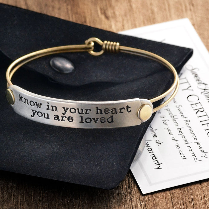 Inspirational Message Bar Bangle Bracelets