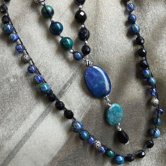Long Gemstone Bead Pendant Necklace