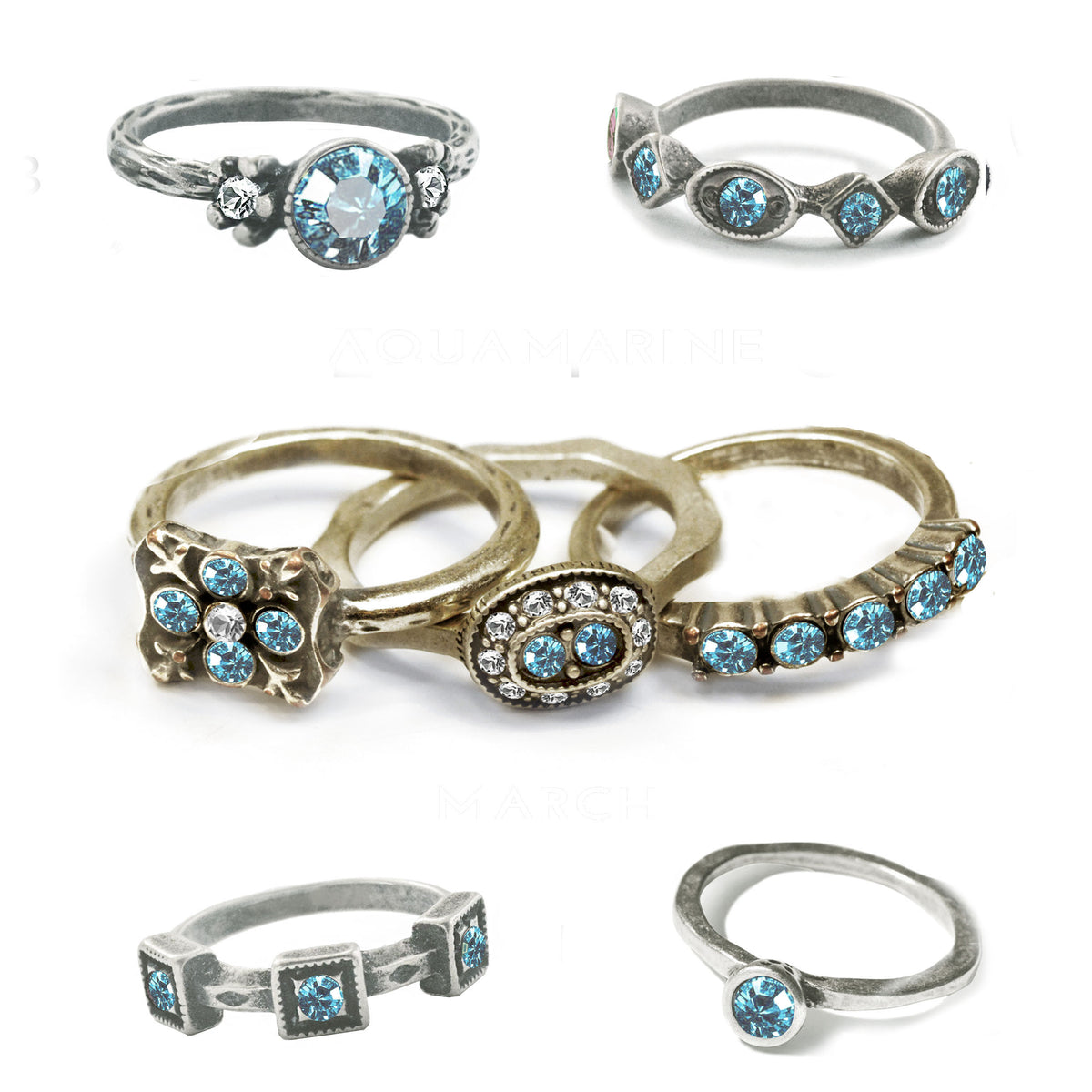 Stackable March Birthstone Ring - Aquamarine Blue