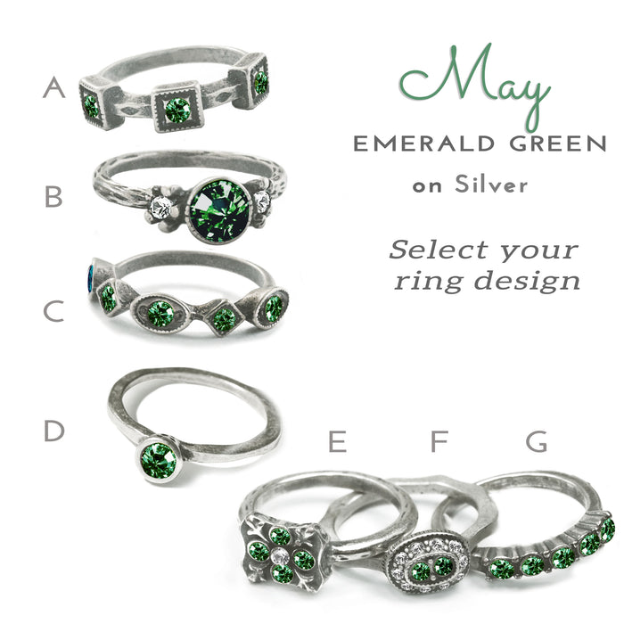 Stackable May Birthstone Ring - Emerald Green
