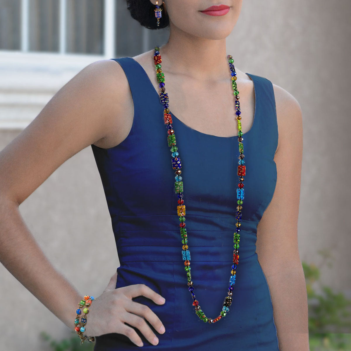 Long Millefiori Rectangle Knotted Beads Necklace