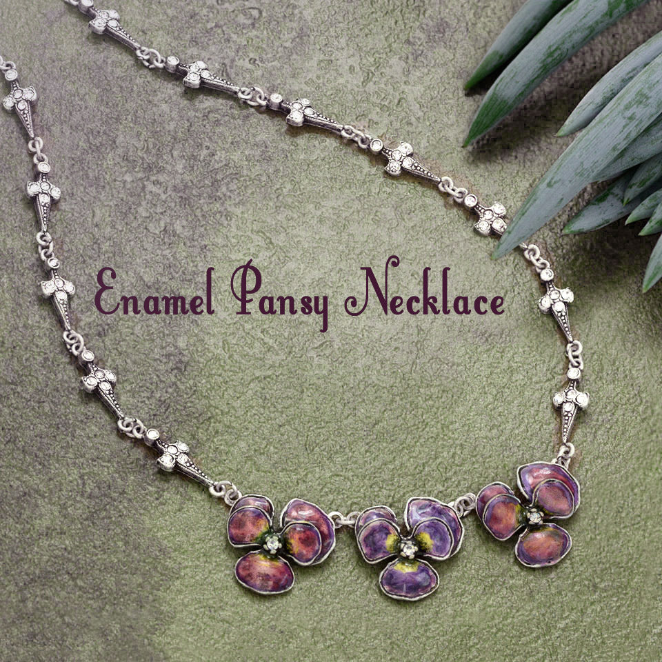 Enamel Pansies Necklace